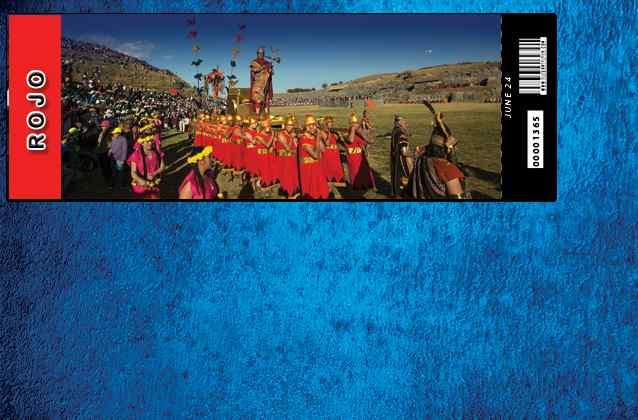 Bilhete Inti Raymi 2021. Seção vermelha