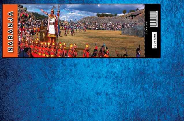 Inti Raymi 2022 ticket. Orange section