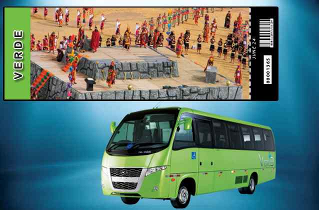 Inti Raymi 2019 ticket. Green section + tour bus