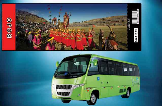 Inti Raymi 2021 ticket. Red section + tour bus