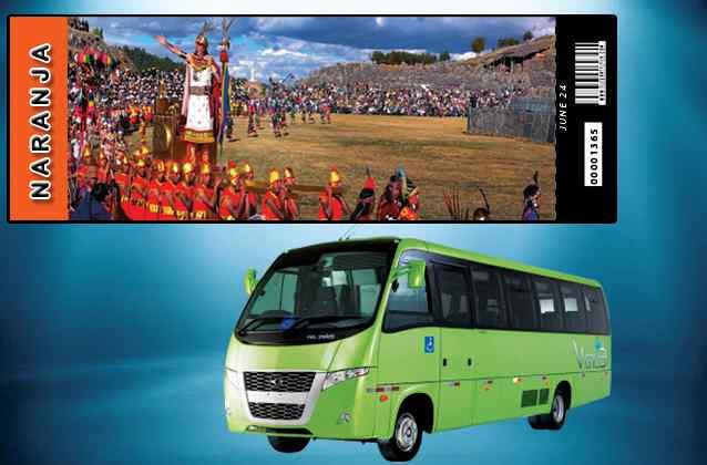 Inti Raymi 2022 ticket. Orange section + tour bus